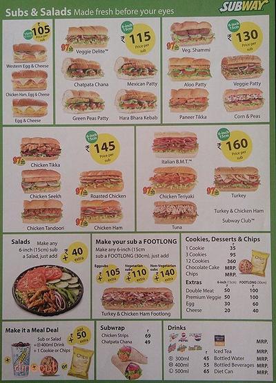 Subway Menu