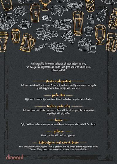 The Beer Cafe Menu