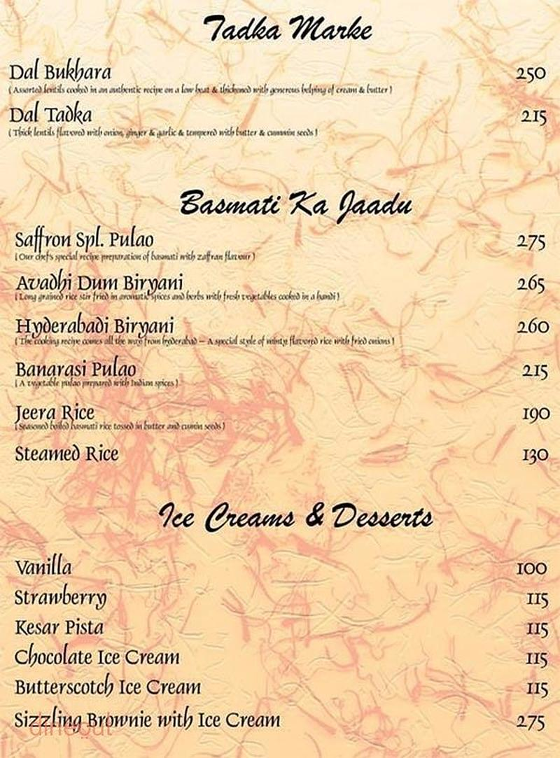Menu of saffron prahlad nagar ahmedabad dineout discovery for 13th floor bangalore candle light dinner