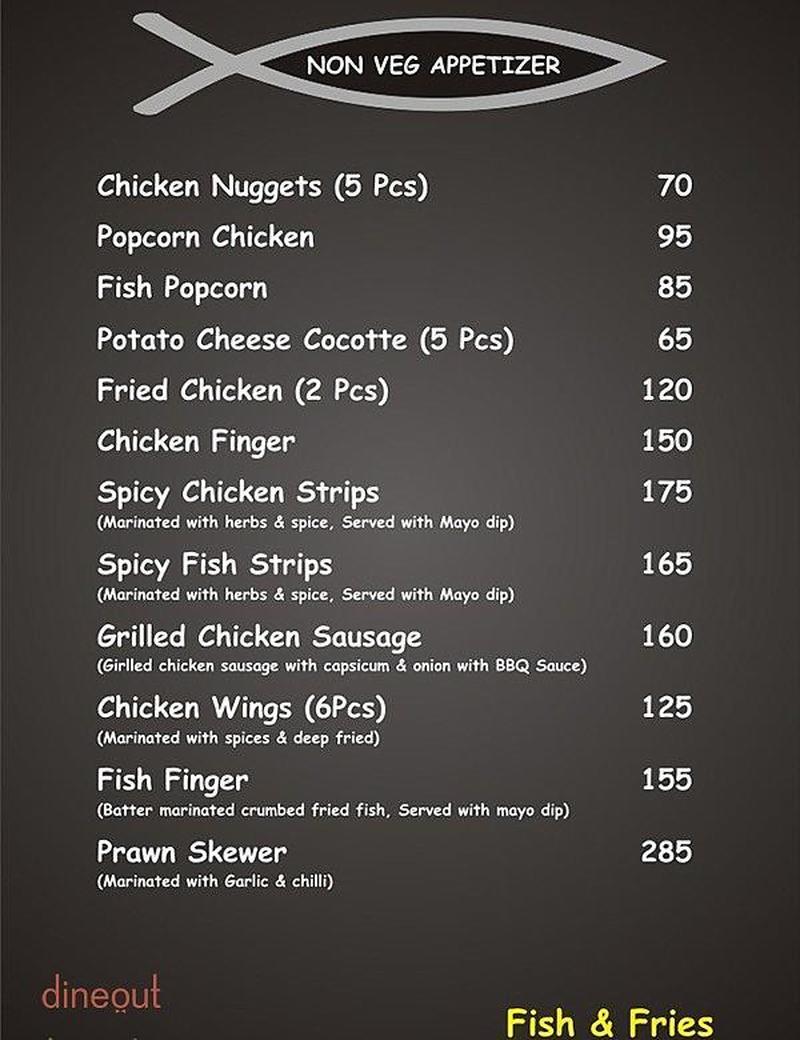 Menu of fish fries hsr layout bangalore dineout for Two fish menu