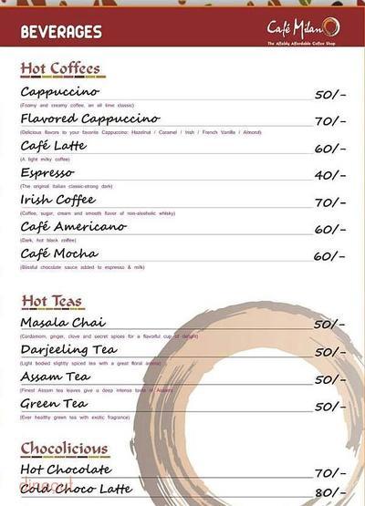 Cafe Milano Menu