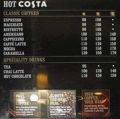 Costa Coffee Menu 1