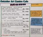 Outsider Arts Centre & Cafe Menu