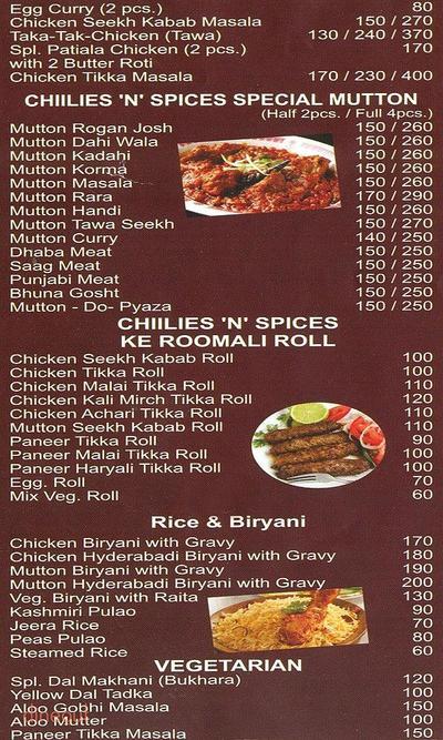 Chillies 'n' Spices Menu 1