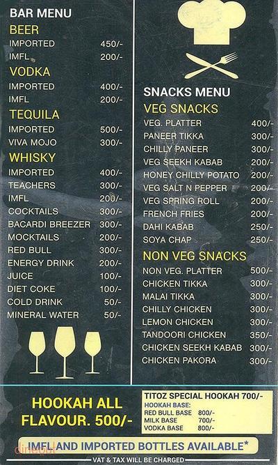 Titoz Lounge Menu