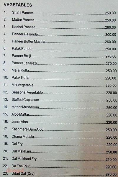 Madras Coffee House Menu 2