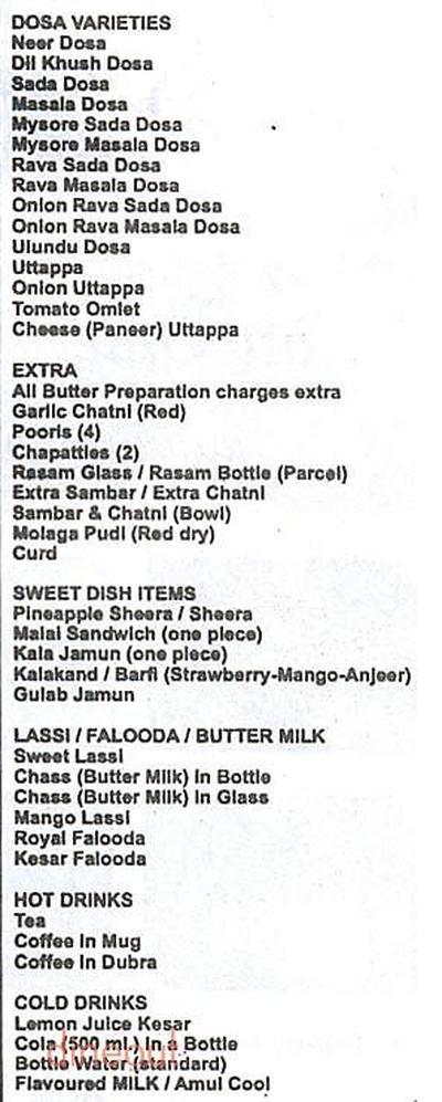 Cafe Mysore Menu 1