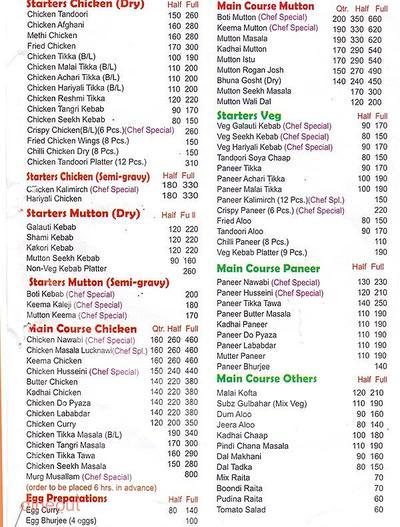 Nawab's - The Taste of Lucknow Menu 1