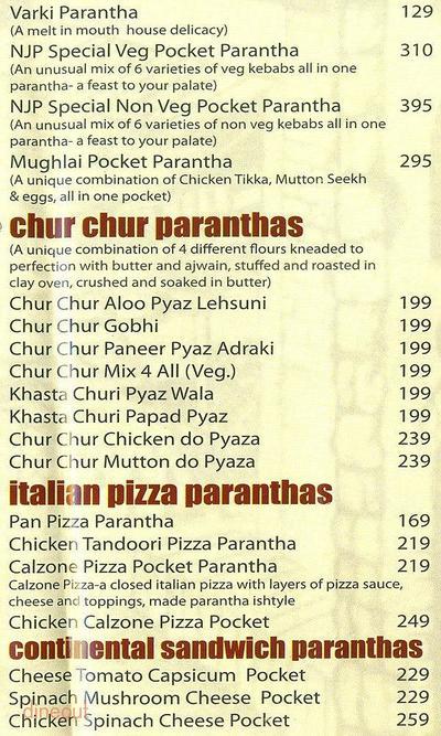 Not Just Paranthas Menu 8