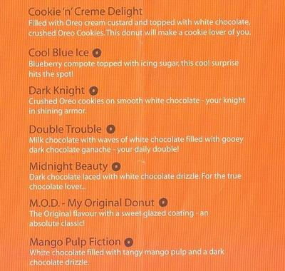 Mad Over Donuts Menu 1