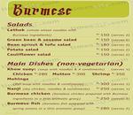 Burmese Kitchen Menu
