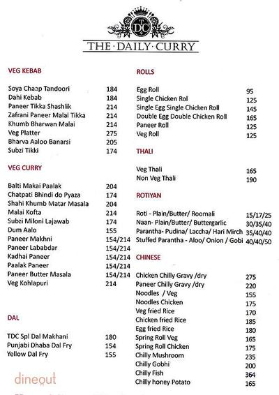 The Daily Curry Menu