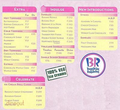 Baskin Robbins Menu 1
