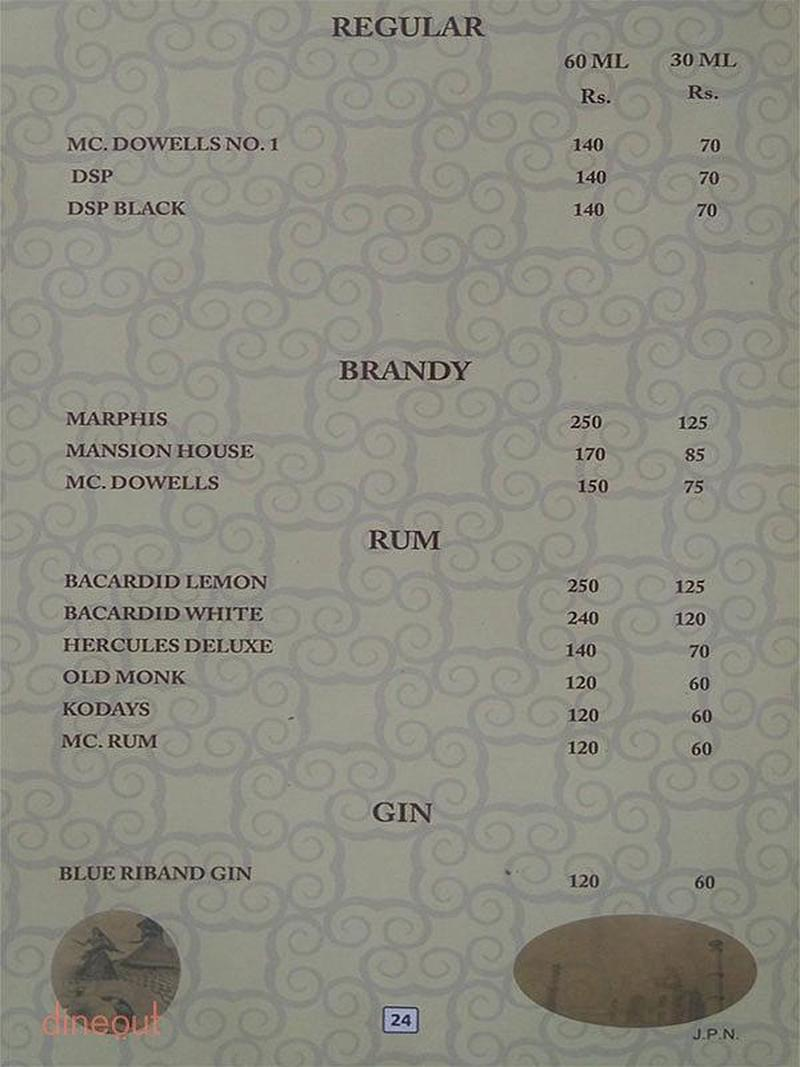 Menu of nandhini deluxe st marks road bangalore for 13th floor bangalore candle light dinner