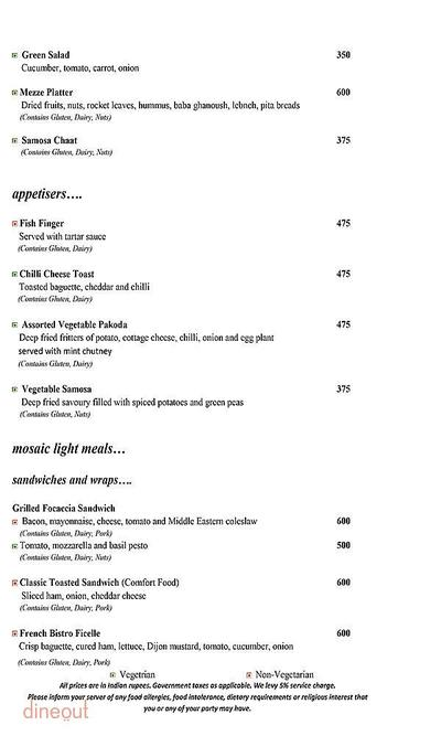 Mosaic - Crowne Plaza Menu 1