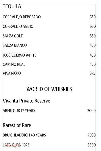 Insomnia Bar - Vivanta By Taj Ambassador Menu 7