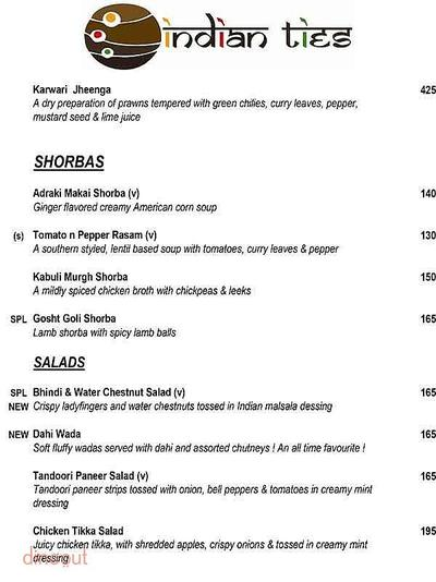 Indian Ties - The E-Square Hotel Menu 2