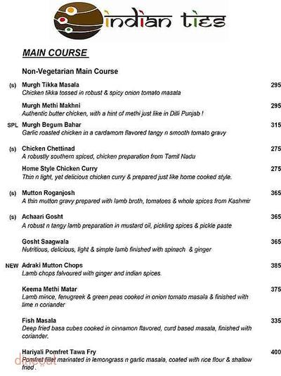Indian Ties - The E-Square Hotel Menu 4