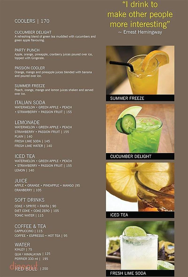 menu of california pizza kitchen, indiranagar, bangalore | dineout