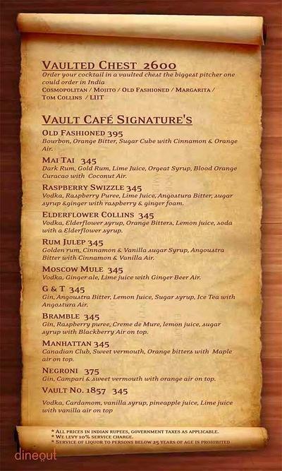 The Vault Cafe Menu 16