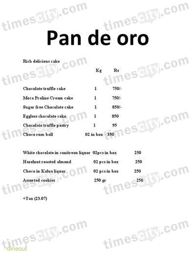 Pan De Oro Menu