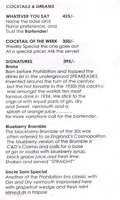 Cocktails & Dreams Speakeasy Menu 7